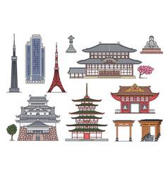 ancient and modern japanese landmark building set vector image
