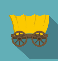 ancient western covered wagon icon vector image