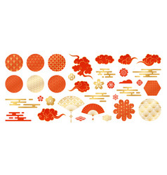 asian design element set decorative vector image