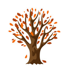 Autumn stylized tree with falling leaves vector