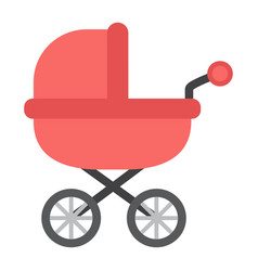 Bacarriage flat icon pram and pushchair vector