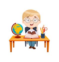 Back to school cute schoolgirl sitting at desk vector
