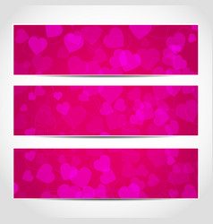 banners with pink hearts on pink background vector image