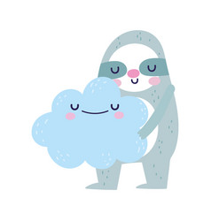 Bashower cute sloth holding cloud cartoon vector
