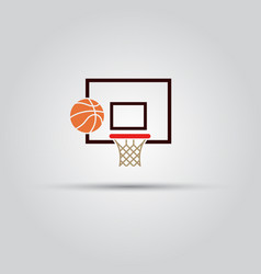 basketball backboard and ball colored sign vector image