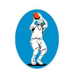 Basketball player shooting ball vector