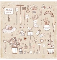 Big set of hand-drawn sketch garden elements vector