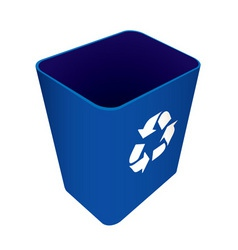 Blue plastic recycle waste can or bin vector