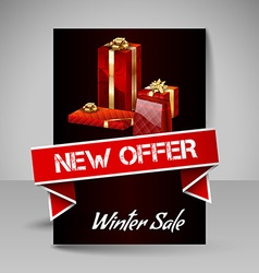 Brochure Design Template with Red Christmas Gifts vector