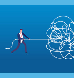 Businessman unraveling tangled rope difficult vector