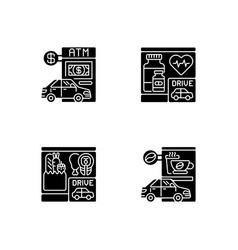 Car in drive in black glyph icons set on white vector