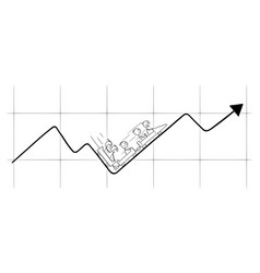 Cartoon businessmen riding on graph or chart vector