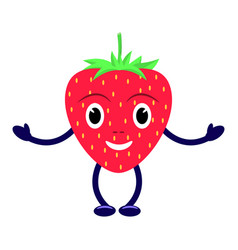 Cartoon character smiling red strawberry vector