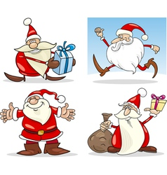 Cartoon Christmas Santa Clauses Set vector