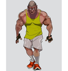 cartoon formidable muscular man in sportswear vector image