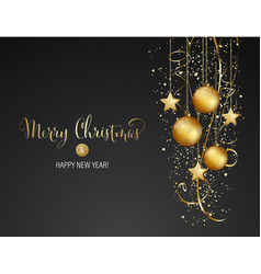 Christmas background with gold baubles and vector