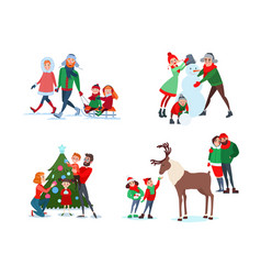Christmas family scenes decorating christmas tree vector