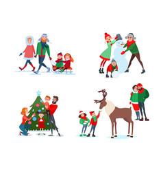 Christmas family scenes decorating tree vector