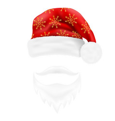 christmas hat santa claus and beard with a vector image