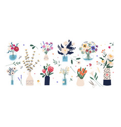 Collection wild and garden blooming flowers in vector