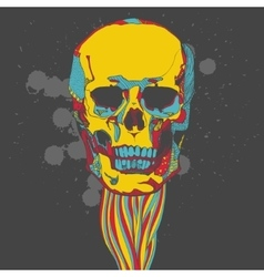 Colorful skull with ornament vector