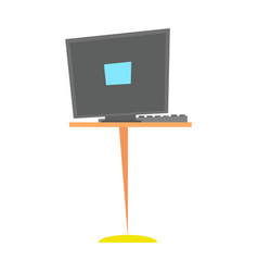 computer desk workplace cartoon vector image