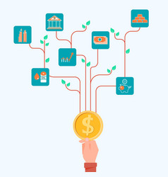 concept of financial and investment tree growing vector image vector image