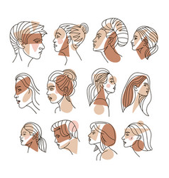continuous line woman profile set with geometric vector image