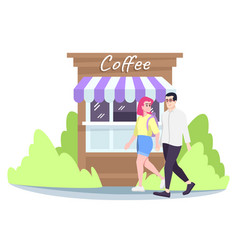 Couple walking on street flat boyfriend vector