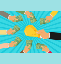 Crowdfunding investing into ideas funding project vector