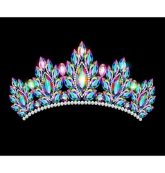 Crown tiara women with glittering precious stones vector