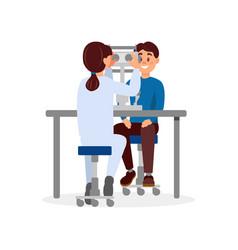 Doctor examining patient s eyesight using vector