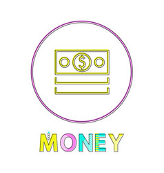 dollar bills depiction minimalistic linear icon vector image