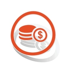 Dollar rouleau sign sticker orange vector