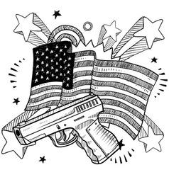 Doodle americana gun bw vector