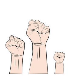 female male and children fist up struggle vector image