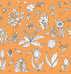 Flowers seamless pattern collection set on orange vector