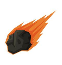 Flying flaming meteorite space cosmos vector