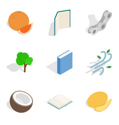 Food care icons set isometric style vector