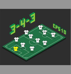 Football 3-4-3 formation with isometric field vector