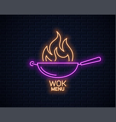 frying pan neon sign wok with fire flame neon vector image