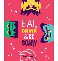 Funny invitation flyer for halloween party vector