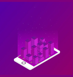 future city in the phone flat isometric vector image