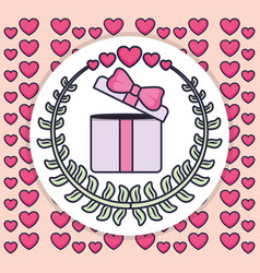 gift box present with wreath and hearts vector image
