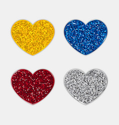 glitter hearts icons set vector image