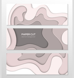 Grey abstract layout - set of paper cut vector