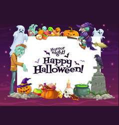 halloween ghosts pumpkings witch and zombie vector image