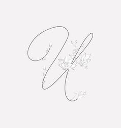 Hand lettering floral u monogram and logo vector