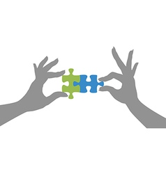 Hands puzzle pieces together solution vector