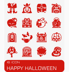 Happy hallowen icon set vector